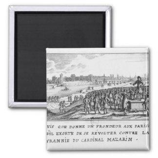 Un hombre del Fronde que exhorta el Parisians Imán Cuadrado