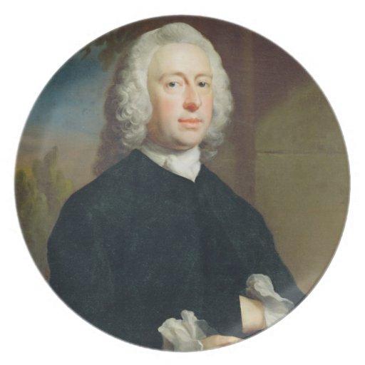 Un hombre desconocido en el negro, 1735 (aceite en plato para fiesta