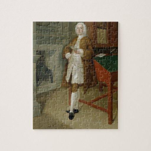 Un hombre desconocido en una biblioteca, c.1740-41 rompecabeza con fotos