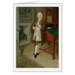 Un hombre desconocido en una biblioteca, c.1740-41 tarjetón