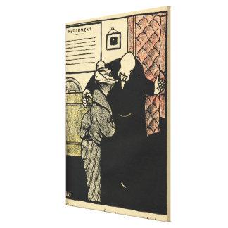 Un hombre digno lleva a una mujer joven en la suya lienzo envuelto para galerías