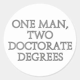 Un hombre, dos grados del doctorado pegatinas