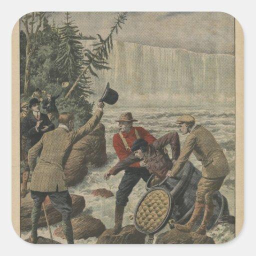 Un hombre en un barril que cruza el Niagara Falls Pegatina Cuadrada