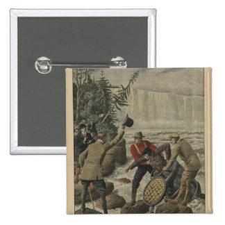 Un hombre en un barril que cruza el Niagara Falls Pin Cuadrado