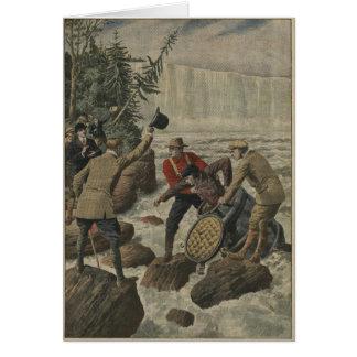 Un hombre en un barril que cruza el Niagara Falls Tarjeta De Felicitación