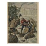 Un hombre en un barril que cruza el Niagara Falls Tarjetas Postales