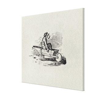 Un hombre en una carretilla lona estirada galerías