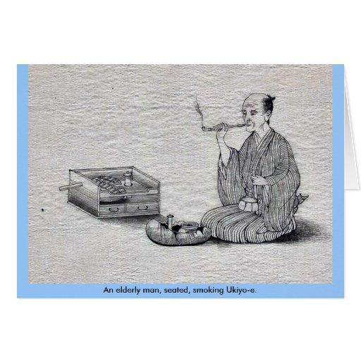 Un hombre mayor, Ukiyo-e. asentado, que fuma Tarjeta De Felicitación