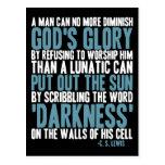 Un hombre puede disminuir no más la gloria de dios tarjeta postal