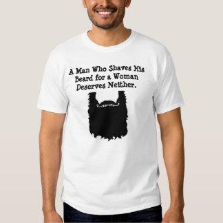 Un hombre que afeita su camisa de la barba