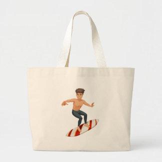 Un hombre que practica surf bolsa tela grande