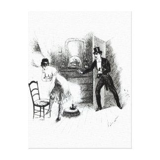 Un hombre que visita a una prostituta impresión en lona estirada