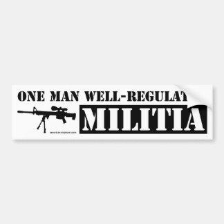 Un hombre reguló bien a la milicia pegatina de parachoque