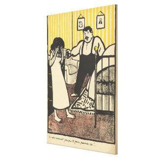 Un hombre reprocha a su señora embarazada lienzo envuelto para galerias