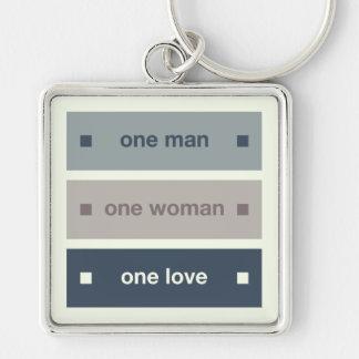 Un hombre, una mujer, un amor llavero cuadrado plateado