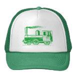 Un hombre y el suyo tren - verde de hierba gorras de camionero