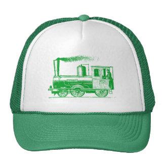 Un hombre y el suyo tren - verde de hierba gorro de camionero