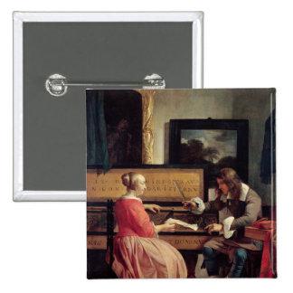 Un hombre y una mujer asentados por un Virginal, c Pin Cuadrado