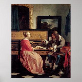 Un hombre y una mujer asentados por un Virginal, c Póster
