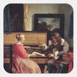 Un hombre y una mujer asentados por un Virginal, Pegatina Cuadrada
