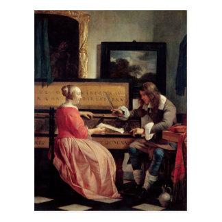 Un hombre y una mujer asentados por un Virginal, Tarjeta Postal