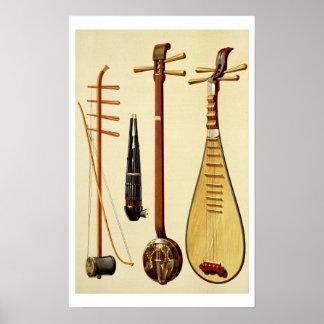 Un huqin y un arco, un sheng, un sanxian y un pipa posters