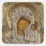 Un icono que muestra a la Virgen de Kazán Calcomania Cuadradas Personalizada