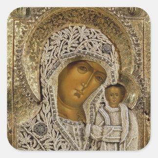 Un icono que muestra a la Virgen de Kazán Pegatina Cuadrada