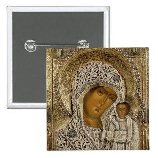 Un icono que muestra a la Virgen de Kazán Pin Cuadrada 5 Cm
