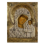 Un icono que muestra a la Virgen de Kazán Tarjeta Postal