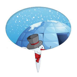 un iglú y muñecos de nieve palillos de tarta