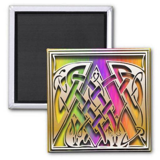 """Un imán del cuadrado del """"arco iris céltico"""" del m"""