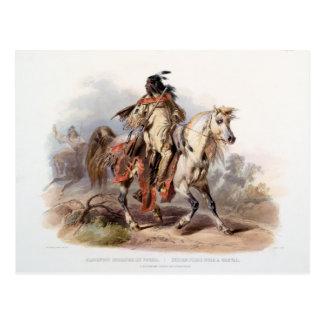 Un indio del Blackfoot en a caballo Postal