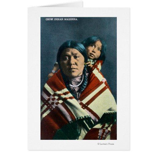 Un indio Madonna del cuervo y niño Tarjeta De Felicitación