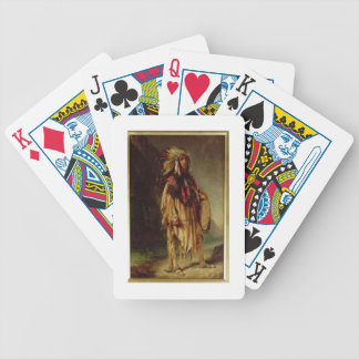 Un indio norteamericano en un paisaje extenso, barajas de cartas