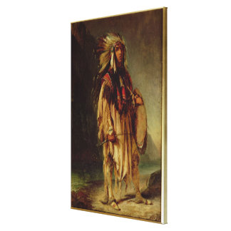 Un indio norteamericano en un paisaje extenso, impresión de lienzo