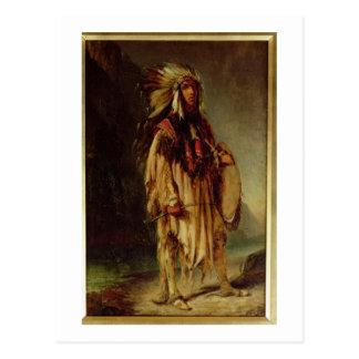 Un indio norteamericano en un paisaje extenso, tarjeta postal