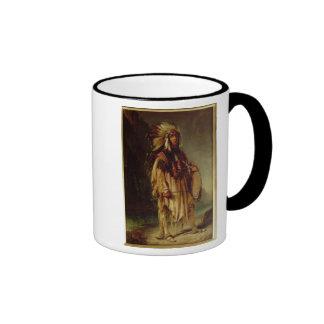 Un indio norteamericano en un paisaje extenso, taza de café