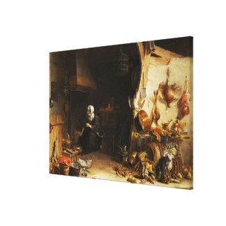 Un interior de la cocina con un chica de criado lona estirada galerias