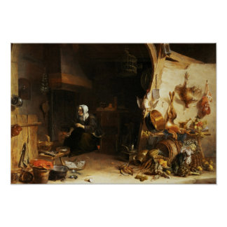 Un interior de la cocina con un chica de criado póster