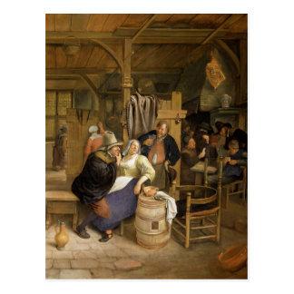 Un interior de la taberna con los jugadores de tar postal