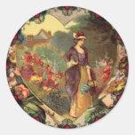 Un jardín de los pegatinas de la tarjeta del día pegatinas redondas