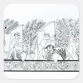 Un jardín egipcio antiguo grabado foto de b w calcomania cuadradas personalizada
