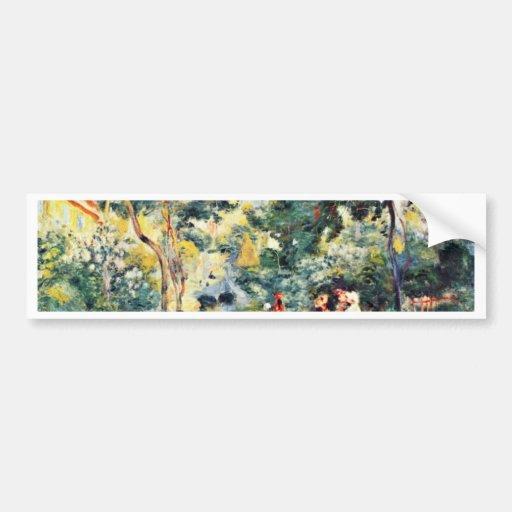 Un jardín en Montmartre de Pierre-Auguste Renoir Etiqueta De Parachoque