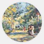 Un jardín en Montmartre de Pierre-Auguste Renoir Pegatinas Redondas