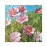 Un jardín floral rosado impresión en lienzo estirada