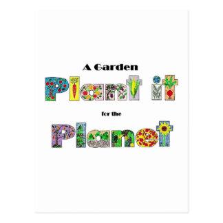 Un jardín, lo planta para el planeta, lema earthda tarjetas postales