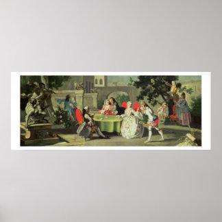 Un jardín ornamental con las figuras elegantes ase póster