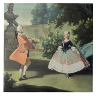 Un jardín ornamental con una chica joven que baila azulejo cuadrado grande