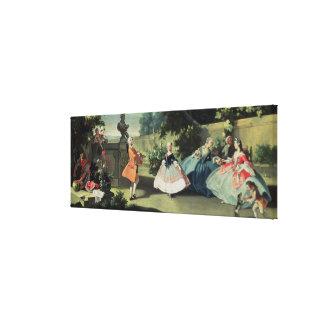 Un jardín ornamental con una chica joven que baila impresión en tela